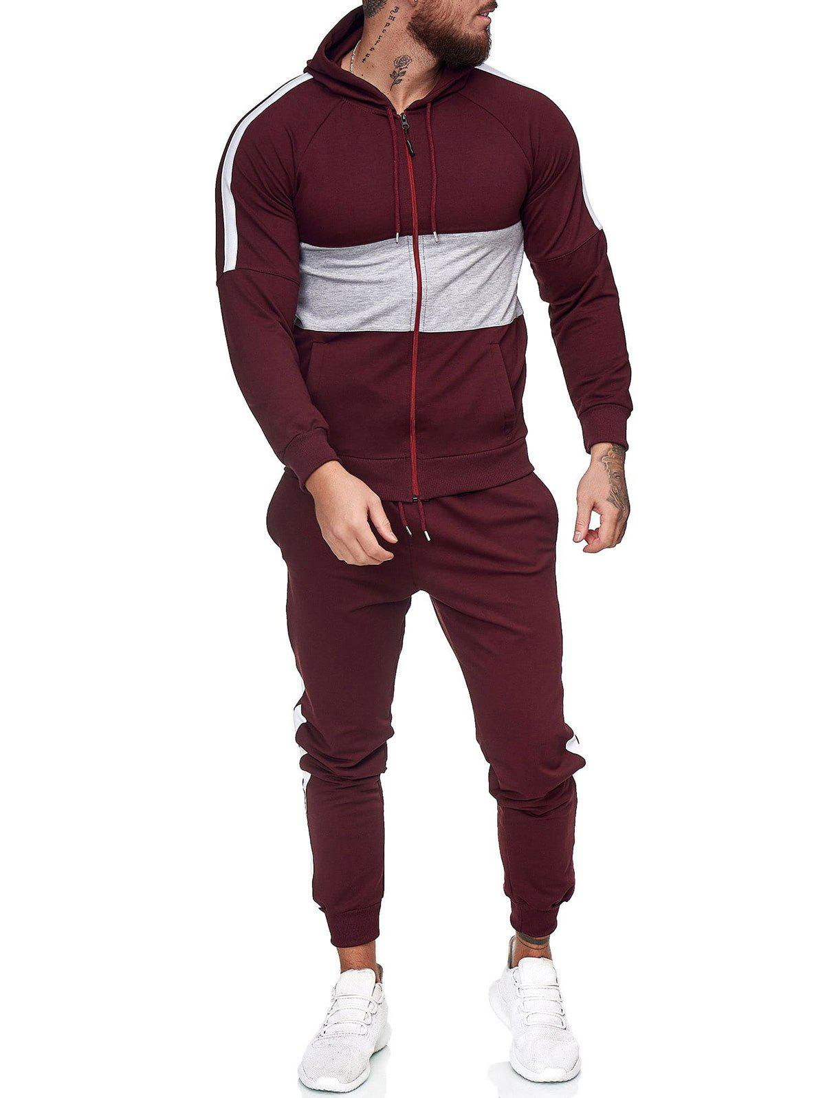 Contrast Zip Up Hoodie Jacket and Pants Two Piece Sports Set - RED WINE L