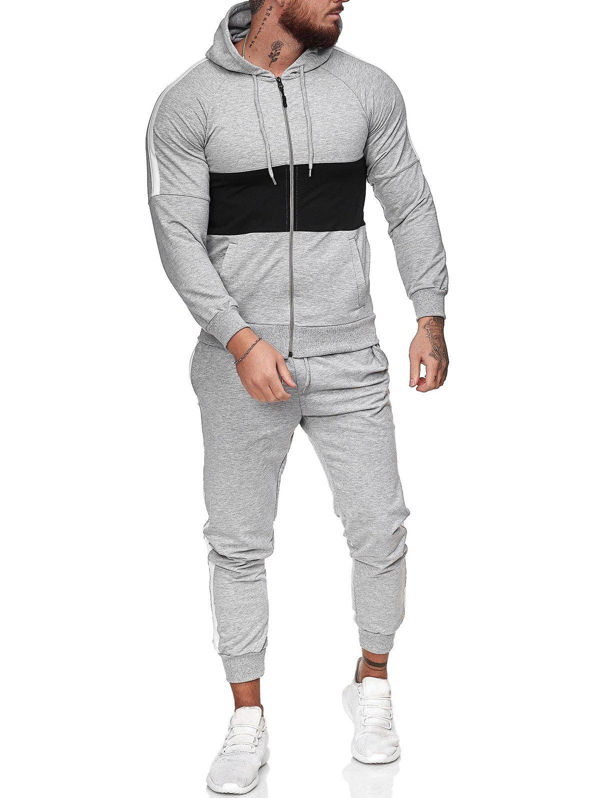 Contrast Zip Up Hoodie Jacket and Pants Two Piece Sports Set - LIGHT GRAY L