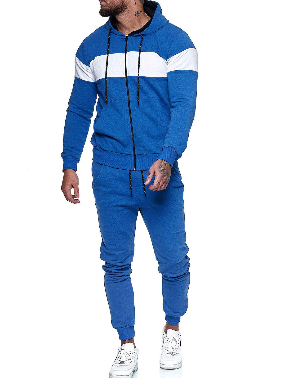 Contrast Zip Up Hoodie Jacket and Pants Sports Two Piece Set - BLUE L