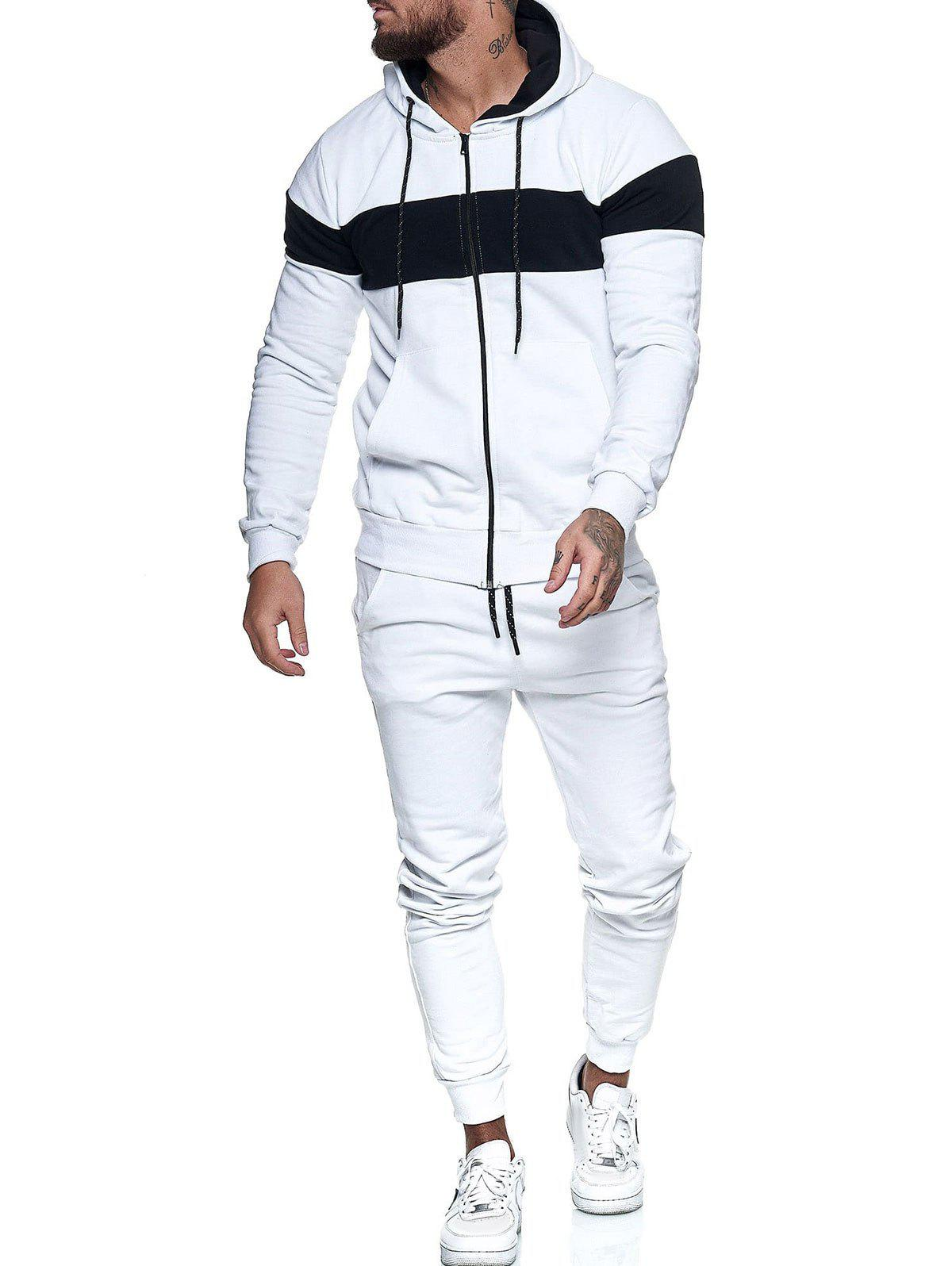 Contrast Zip Up Hoodie Jacket and Pants Sports Two Piece Set - WHITE XS