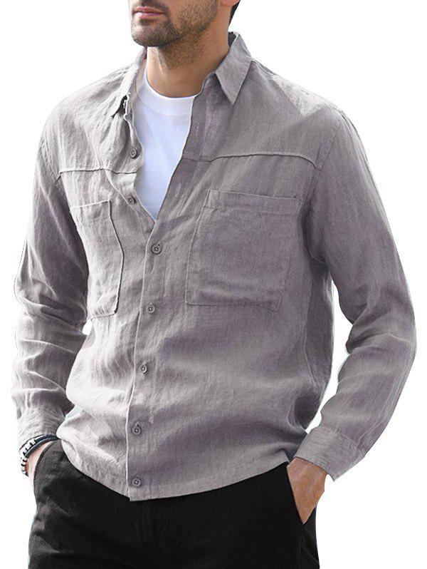 Button Up Double Pockets Shirt - GRAY 3XL