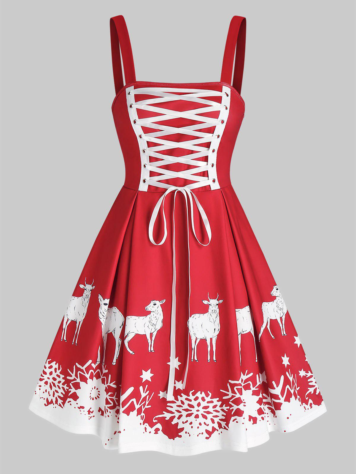 Snowflake Elk Print Lace Up Christmas Dress - RED 3XL