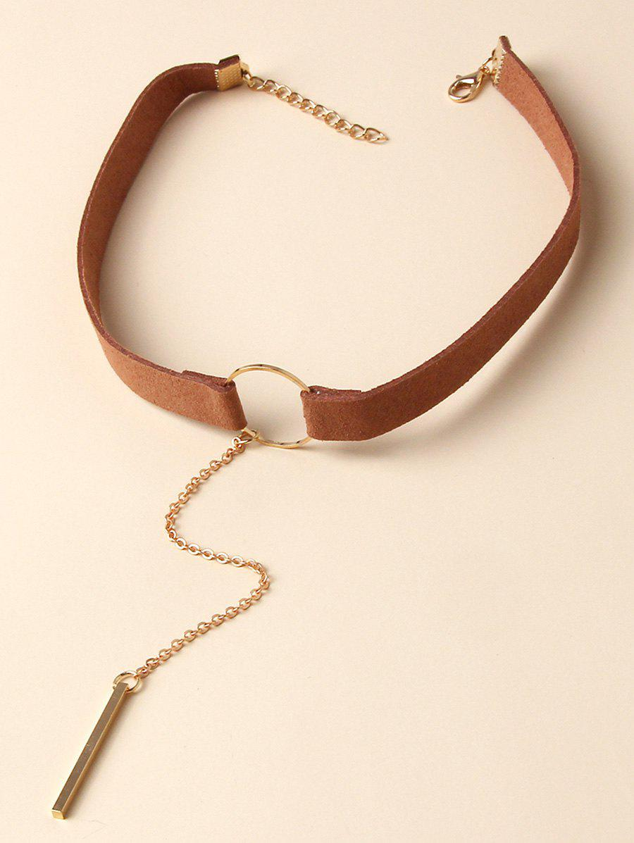 Bar Pendant Wide Leather Choker Necklace - SILVER