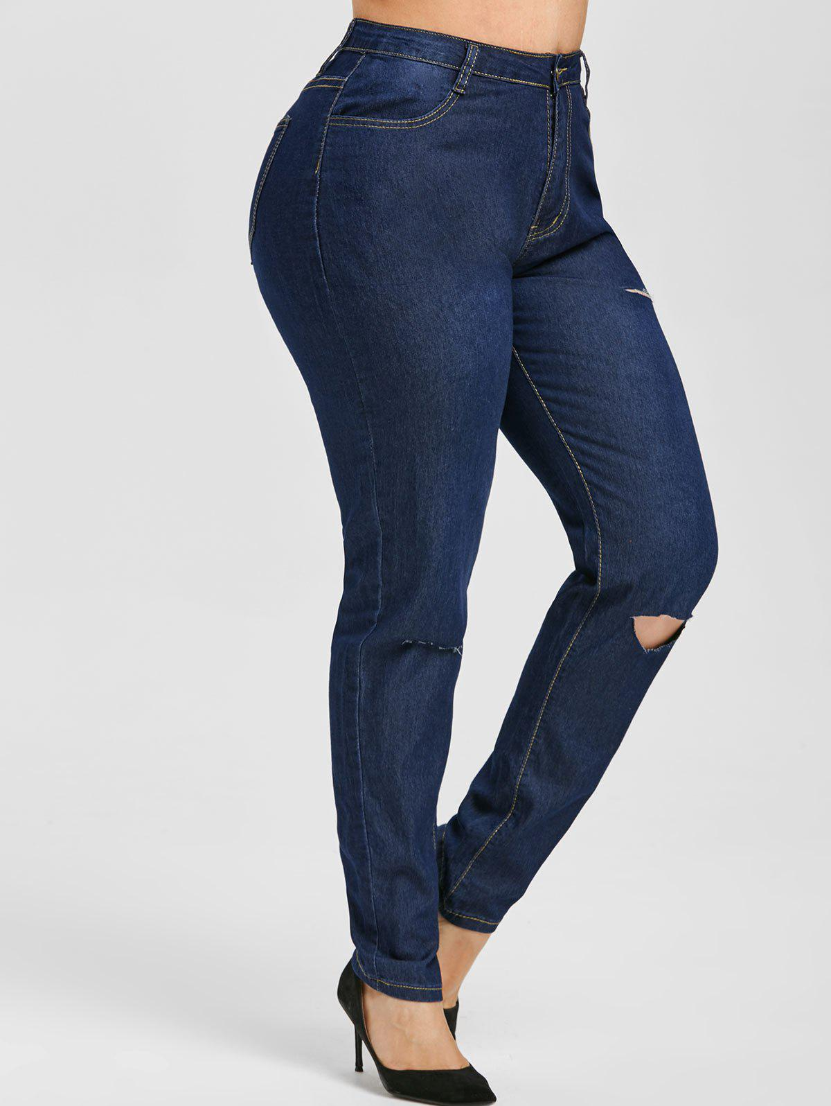 Distressed Cutout High Waisted Plus Size Skinny Jeans - DEEP BLUE 5XL
