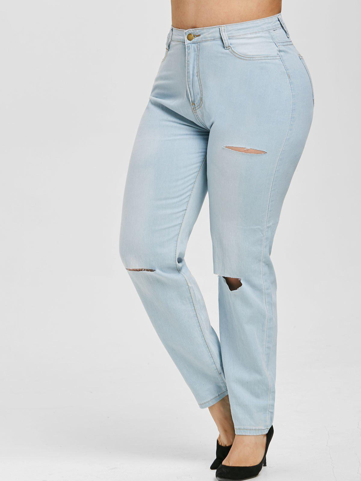 Distressed Cutout High Waisted Plus Size Skinny Jeans - LIGHT BLUE 5XL