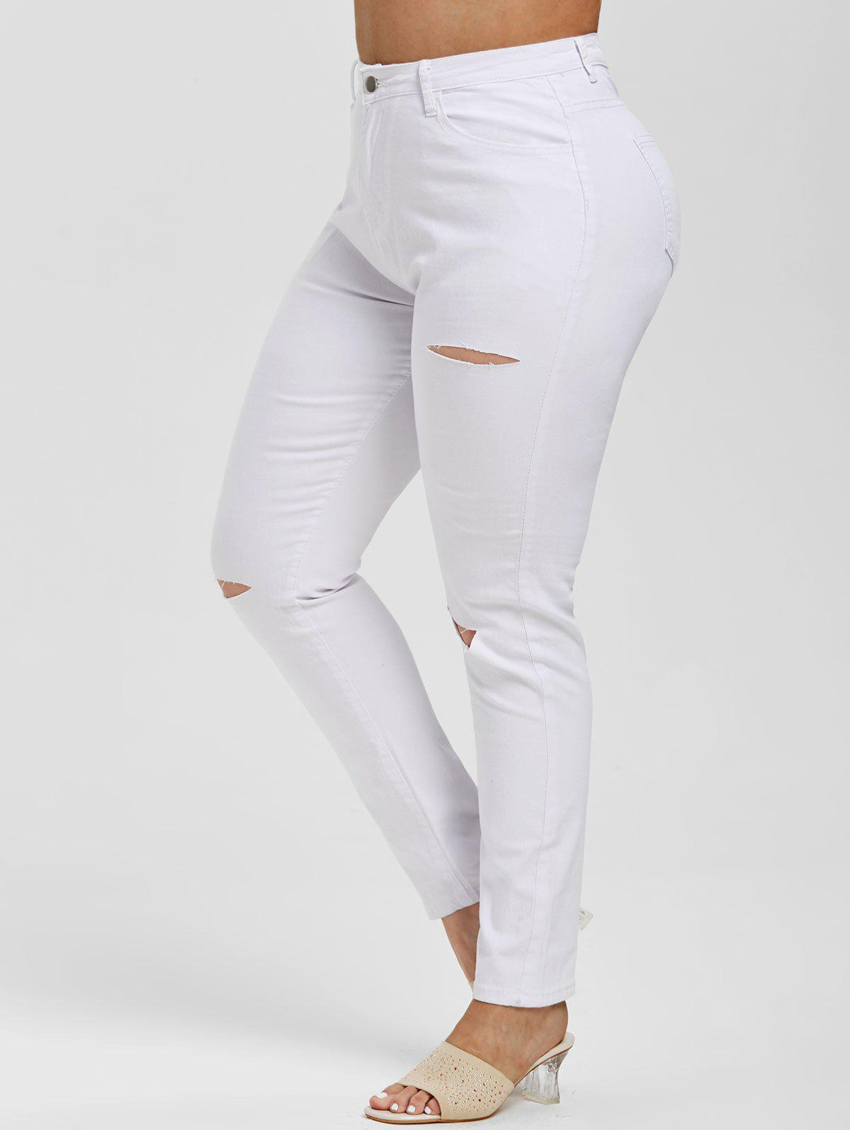 Distressed Cutout High Waisted Plus Size Skinny Jeans - WHITE 5XL
