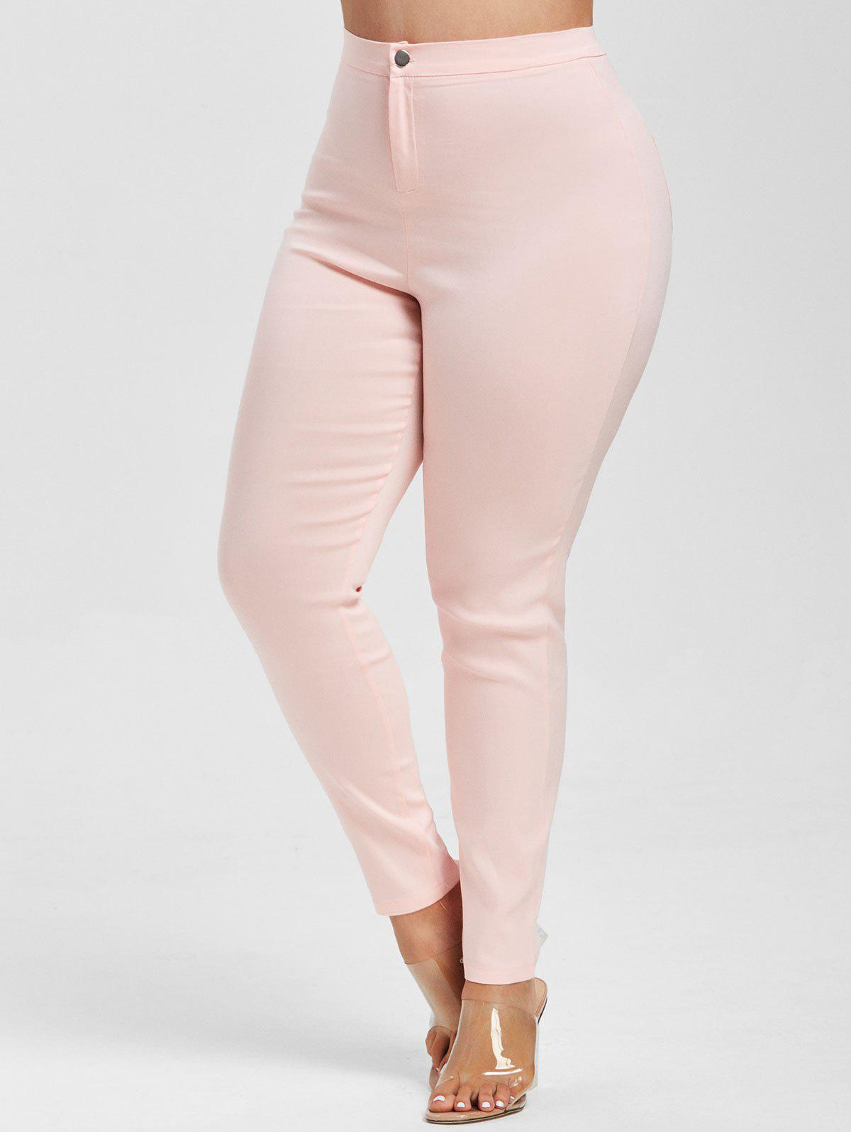 Colored High Waisted Skinny Jeans - LIGHT PINK 3XL
