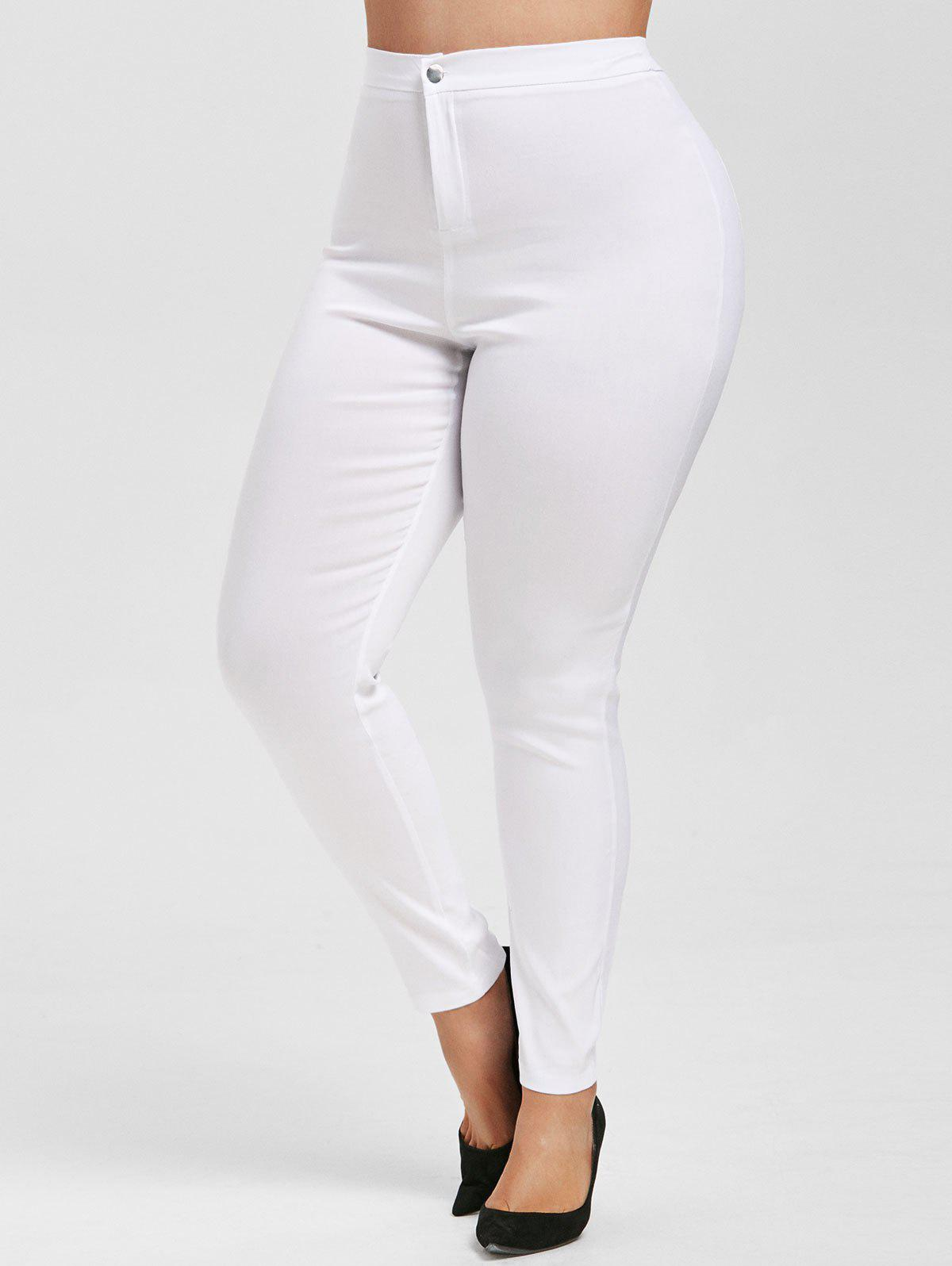 Colored High Waisted Skinny Jeans - WHITE XL