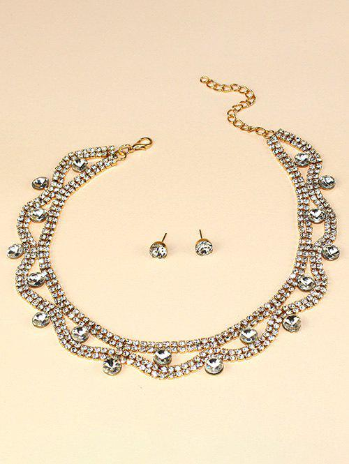 Hollow Out Rhinestone Jewelry Suit - GOLDEN