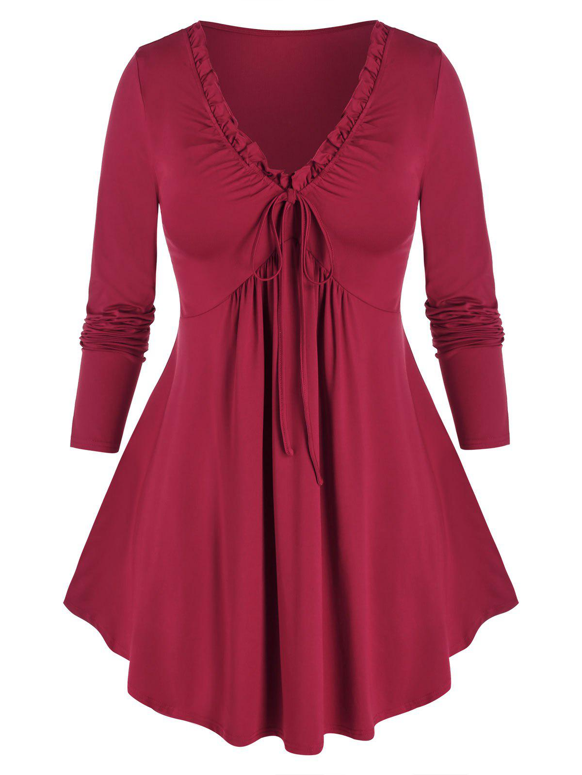 Plus Size Ruffle Tied T Shirt - RED WINE L