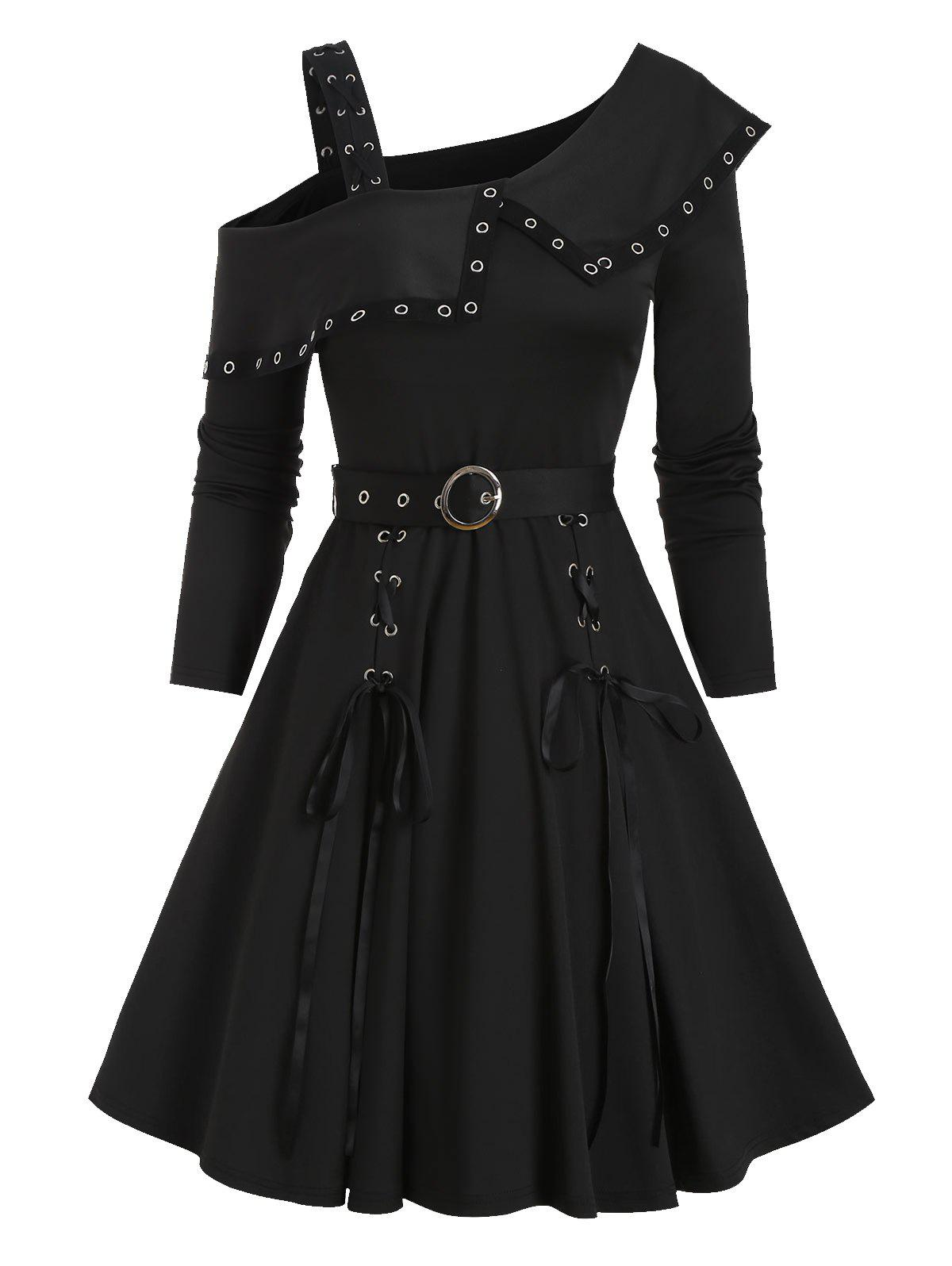 Grommet Detail Lace-up Belted Dress - BLACK XL