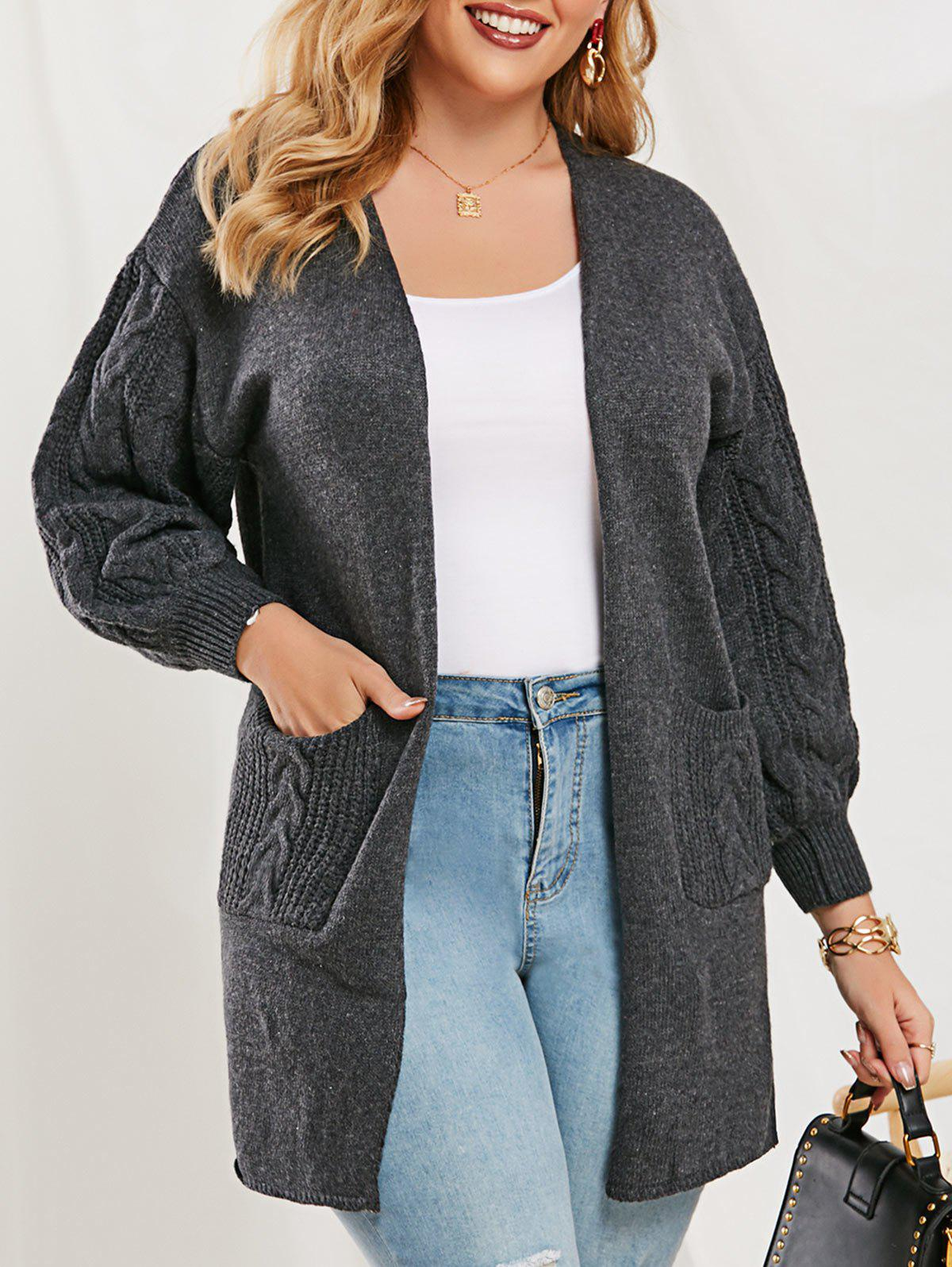 Cable Knit Lantern Sleeve Open Front Cardigan - GRAY ONE SIZE