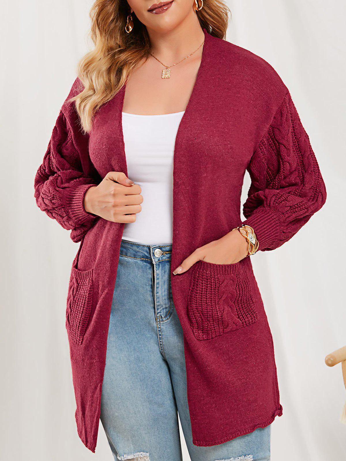 Cable Knit Lantern Sleeve Open Front Cardigan - RED ONE SIZE