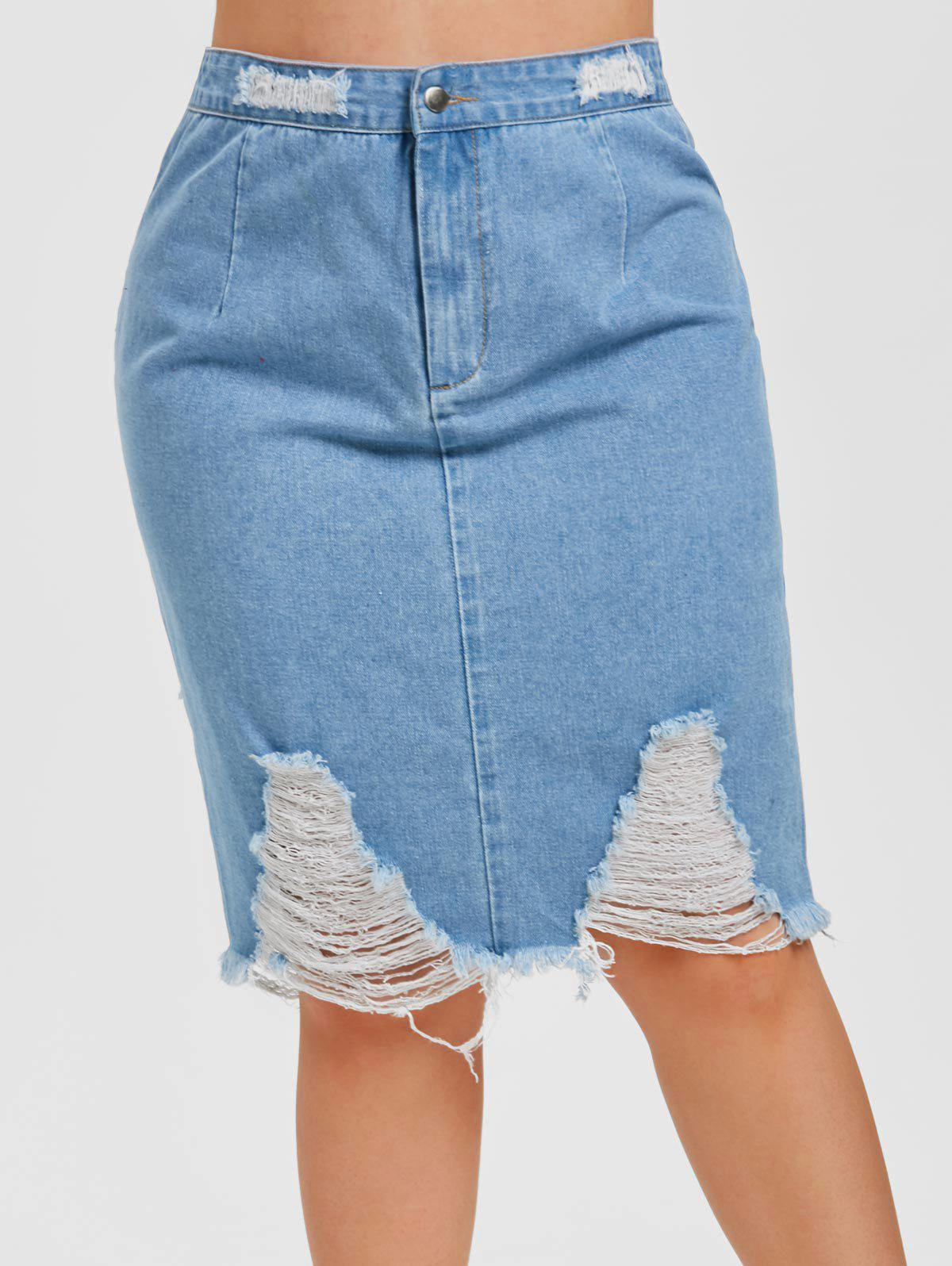 Plus Size High Rise Ripped Denim Skirt - BLUE 5X