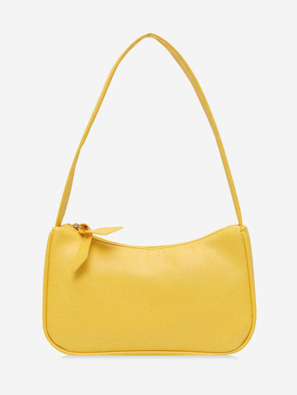 Brief Solid Rectangle Shoulder Bag - SUN YELLOW
