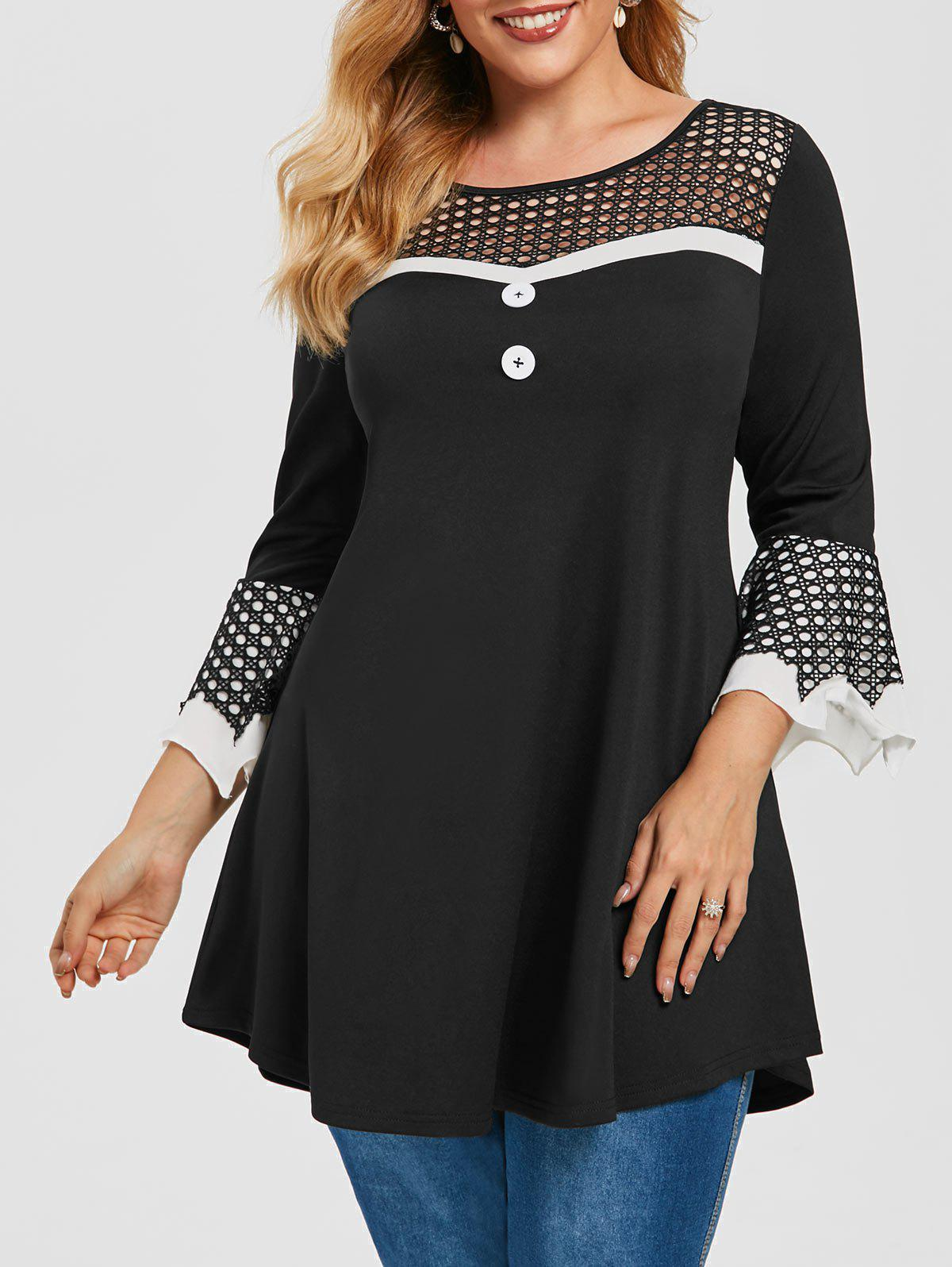 Plus Size Fishnet Insert Bell Sleeve Tee - BLACK 5X