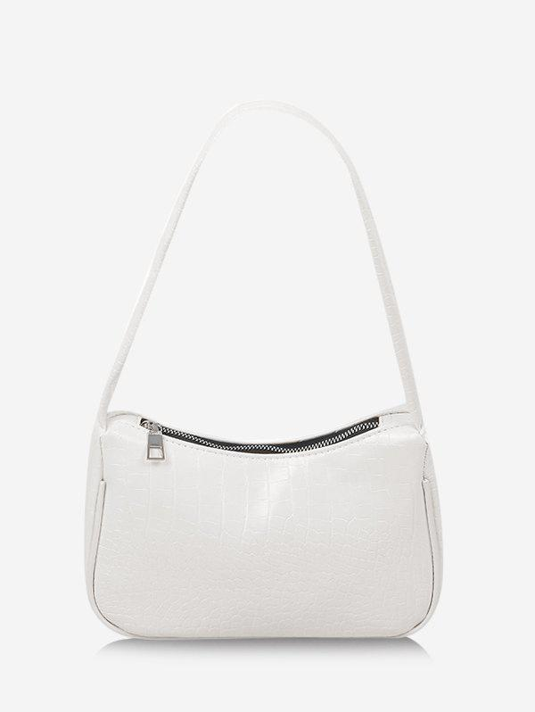Textured French Style Shoulder Bag - WHITE