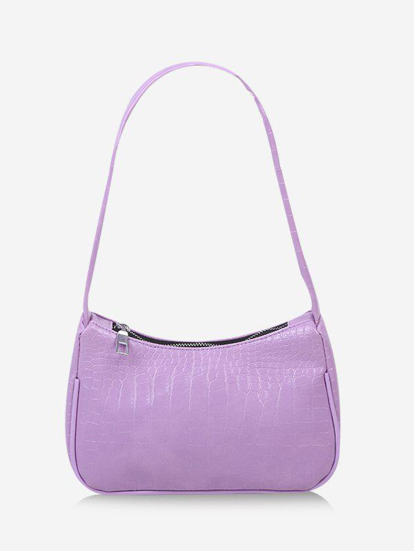 Textured French Style Shoulder Bag - MAUVE