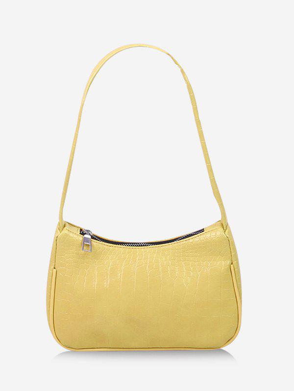 Textured French Style Shoulder Bag - SUN YELLOW