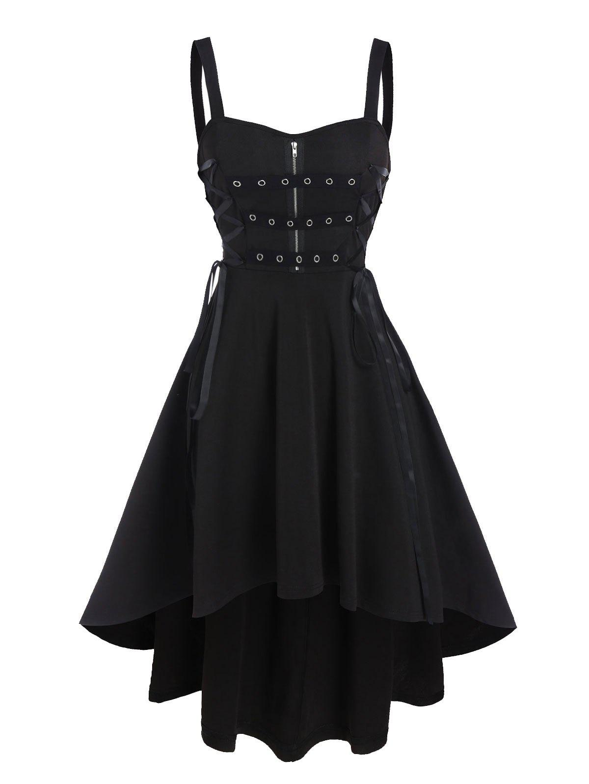 Sleeveless Zipper Detail Lace-up High Low Dress - BLACK 2XL