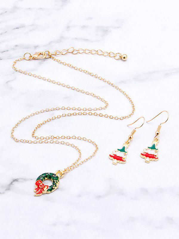 Christmas Tree Garland Glazed Necklace Earrings Set - GOLDEN