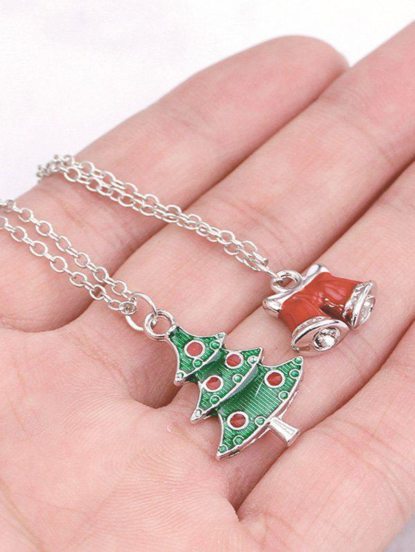 Christmas 2Pcs Tree Bells Necklace Set - SILVER