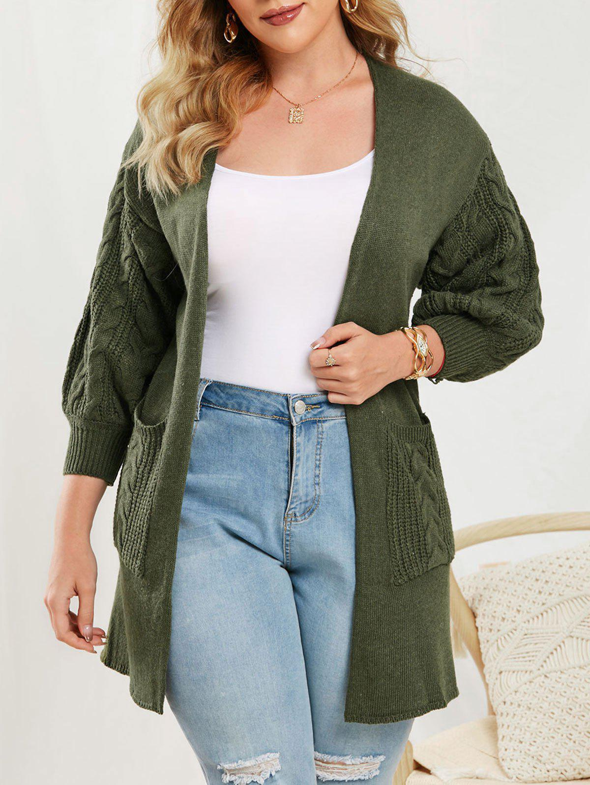 Cable Knit Lantern Sleeve Open Front Cardigan - DEEP GREEN ONE SIZE