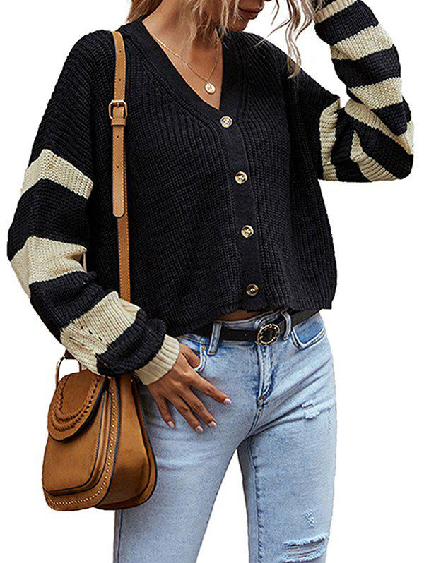 Striped Sleeve Button Up Cardigan - BLACK M