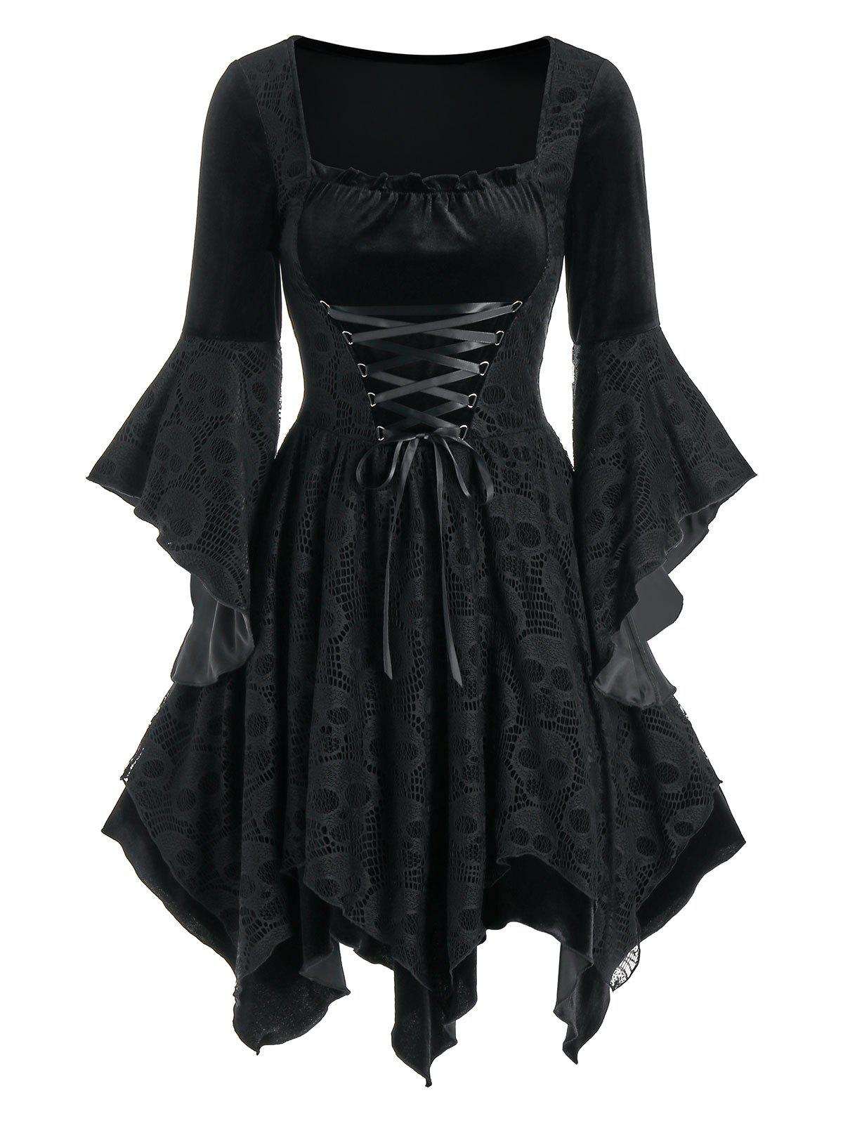 Halloween Skull Lace Insert Velvet Handkerchief Dress - BLACK XL