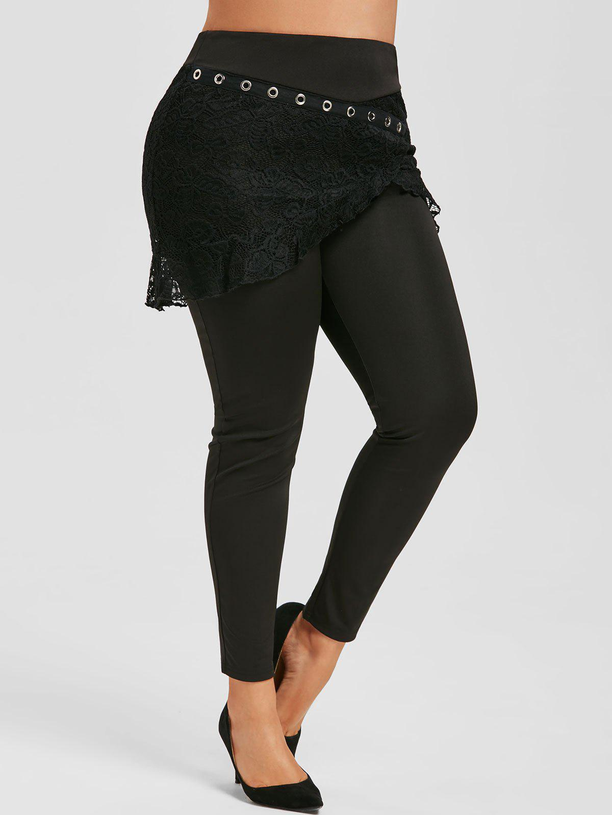 Plus Size Lace Overlay Skirted Pants - BLACK 5X