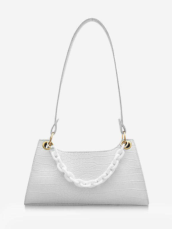 French Style Chain Solid Shoulder Bag - MILK WHITE