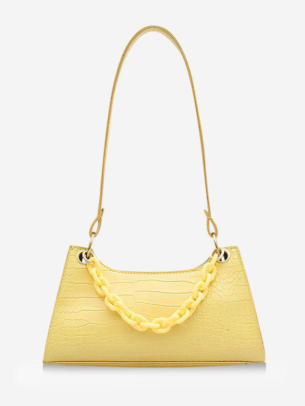 French Style Chain Solid Shoulder Bag - RUBBER DUCKY YELLOW