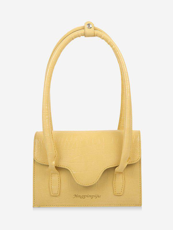 Letters Print Cover Rectangle Shoulder Bag - SUN YELLOW