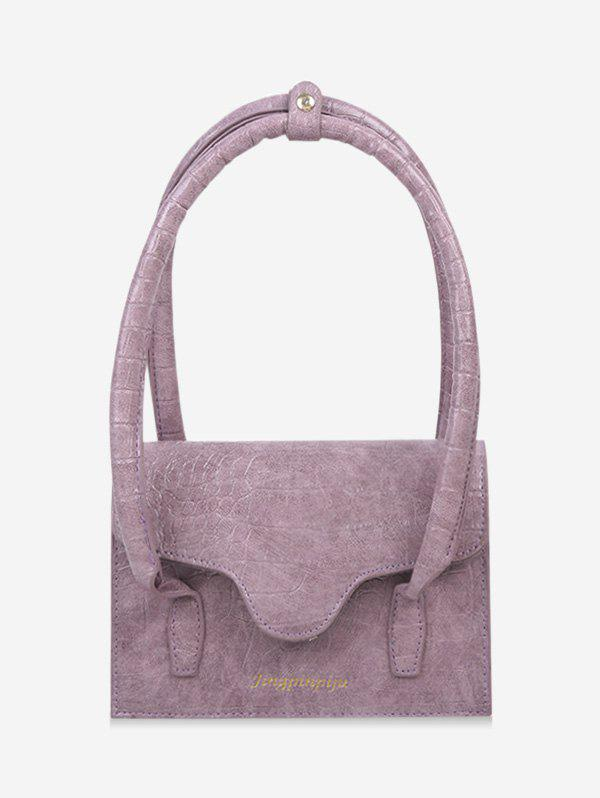 Letters Print Cover Rectangle Shoulder Bag - LILAC