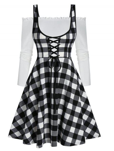 Checked Lace Up Lettuce Trim Mini Two Piece Dress