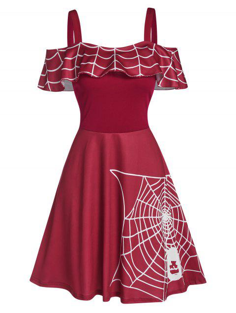 Halloween Spider Web Print Cold Shoulder Skater Dress