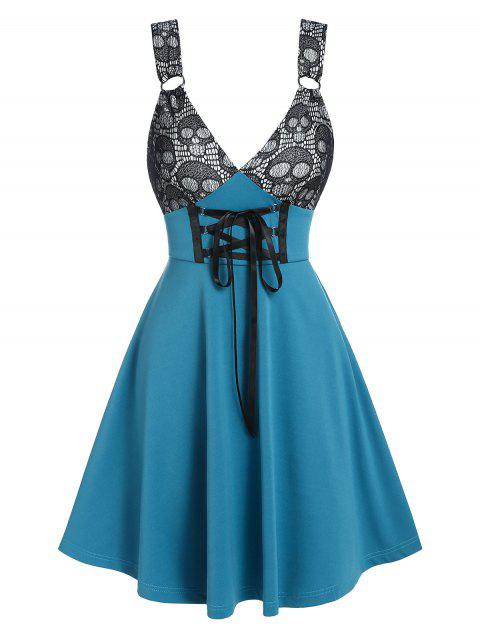 Gothic Skull Pattern Two-tone Lace-up Dress