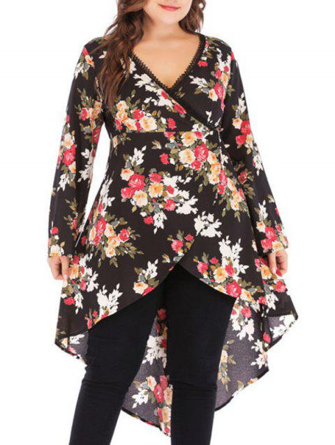 Plus Size Floral Print High Low Tops