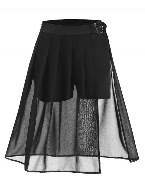 Pleated Solid Sheer Slit Flare Skirt
