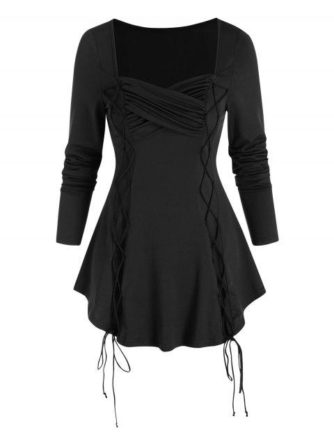 Solid Criss Cross Ruched Lace Up T Shirt