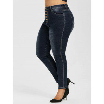 Button Fly High Waisted Plus Size Skinny Jeans
