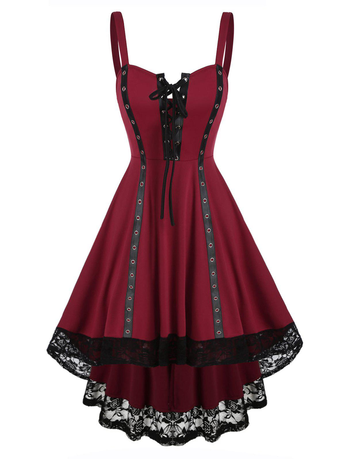 Lace Grommet Colorblock High Low Dress - RED WINE L