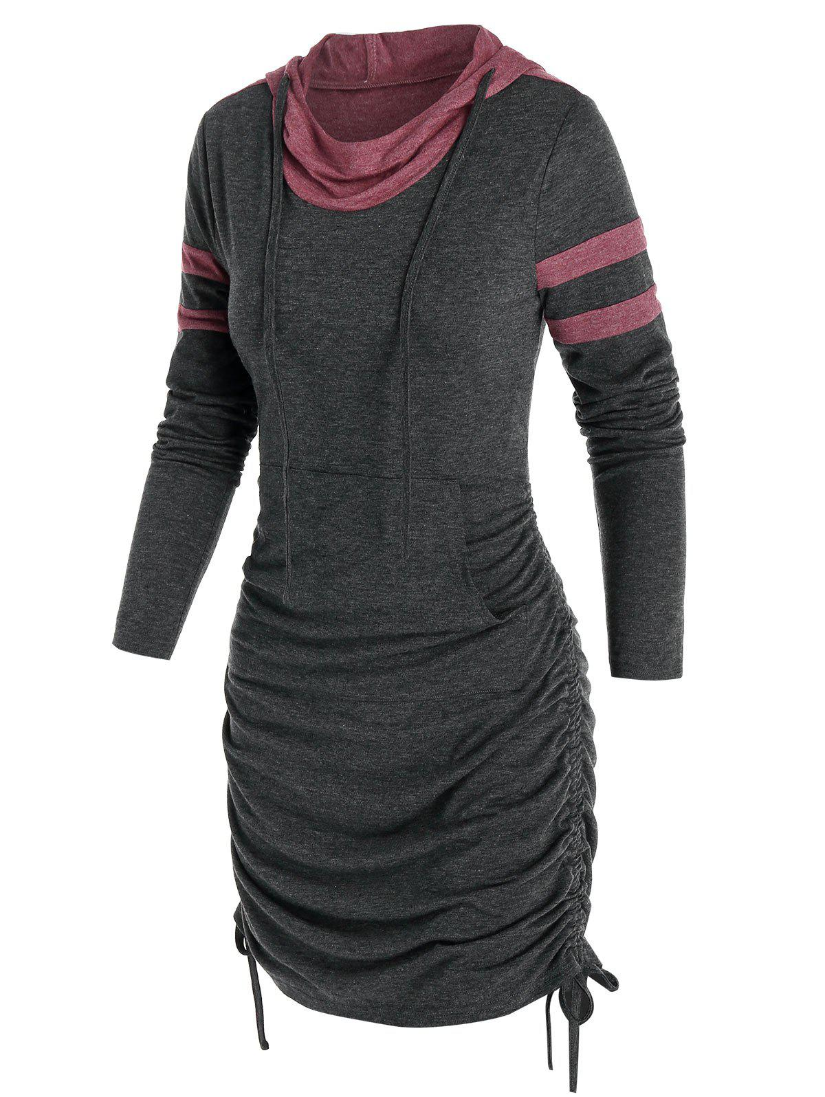 Front Pocket Heathered Cinched Mini Hoodie Dress - ASH GRAY XL