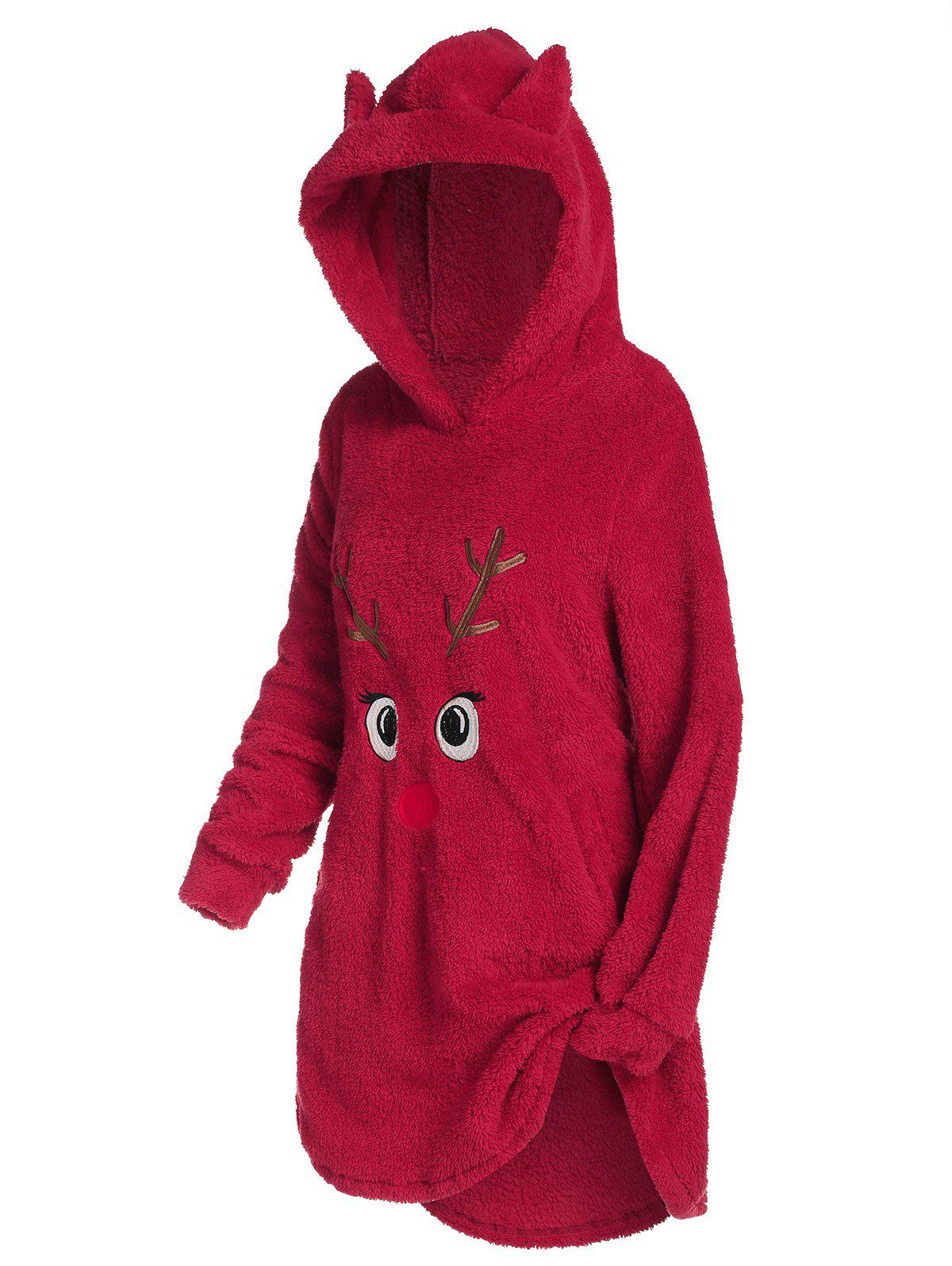 Plus Size Funny Elk Christmas Plush Long Hoodie - RED 1X