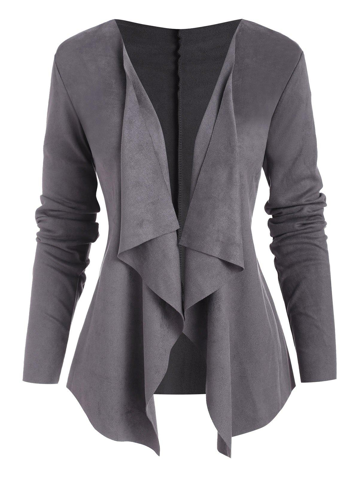 Open Front Waterfall Faux Suede Jacket - GRAY L