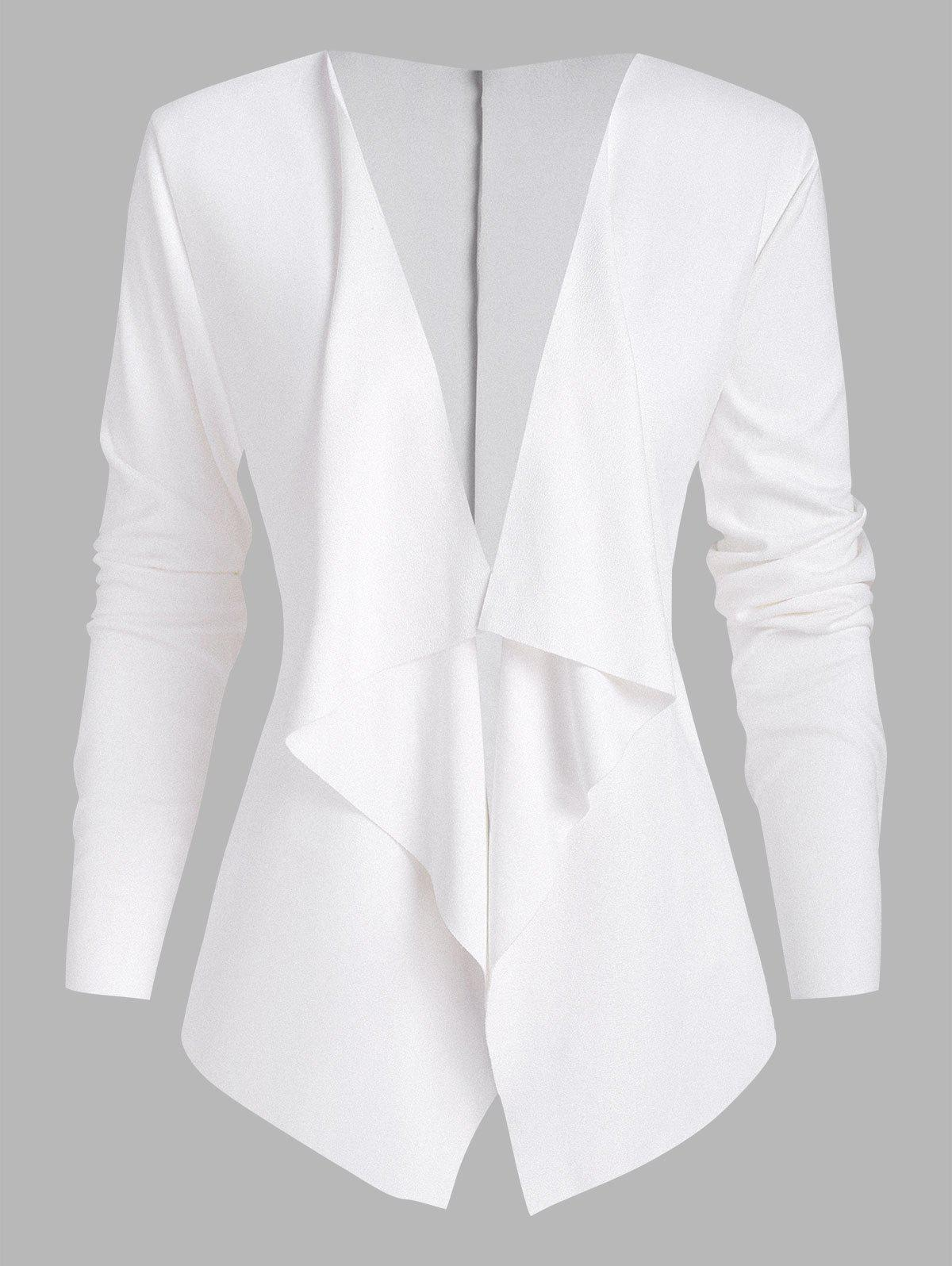 Open Front Waterfall Faux Suede Jacket - WHITE L