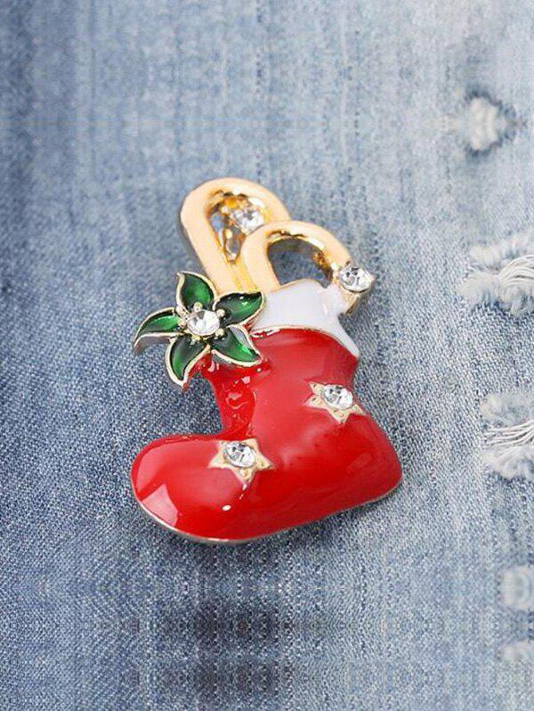 Christmas Stocking Floral Shape Brooch - RED