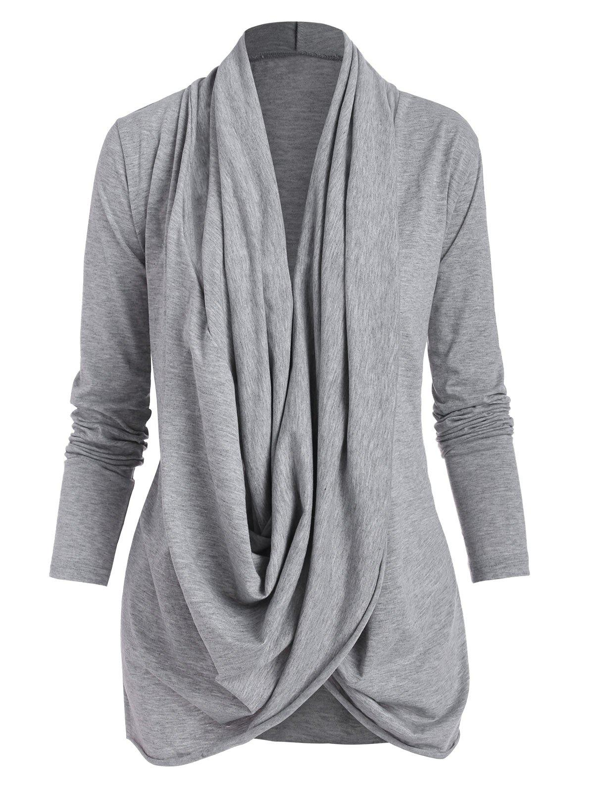Draped Cowl Front Crossover Long Sleeve Tee - GRAY M