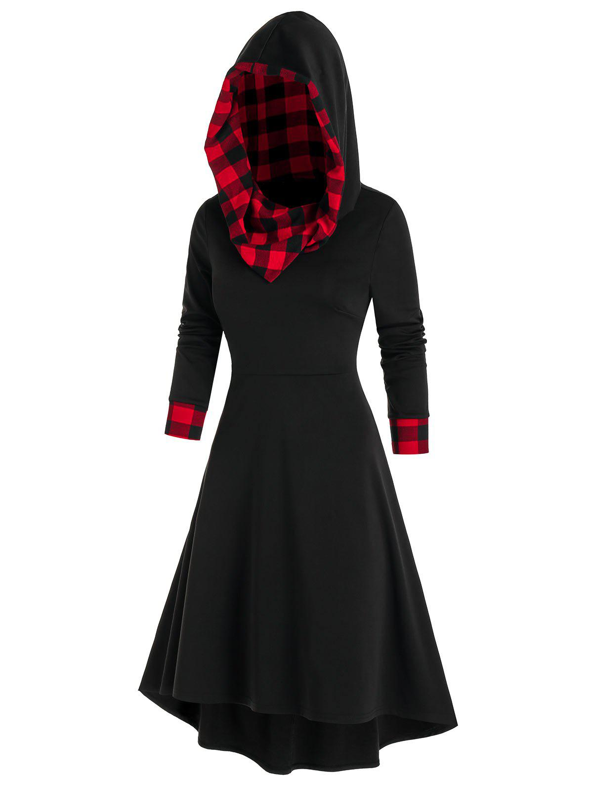 Hooded Plaid Print Lace-up High Low Dress - BLACK 2XL