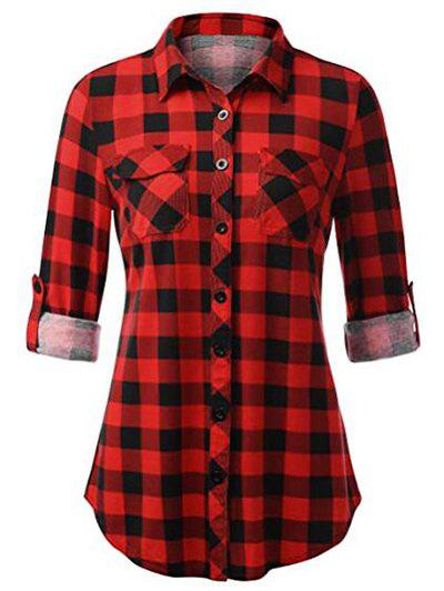Plus Size Roll Up Sleeve Pockets Plaid Shirt - RED 4XL